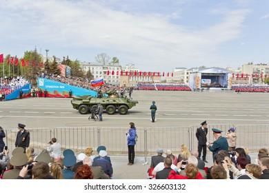 SAMARA, RUSSIA - MAY 9: Russian military transport at the parade on annual Victory Day, May, 9, 2015 in Samara, Russia.