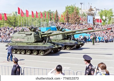 SAMARA, RUSSIA - MAY 9: Russian military transport at the parade on annual Victory Day, May, 9, 2017 in Samara, Russia.