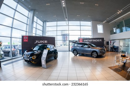 SAMARA, RUSSIA - NOVEMBER 16, 2014: Inside in the office of official dealer Nissan.  Nissan is a Japanese multinational automaker