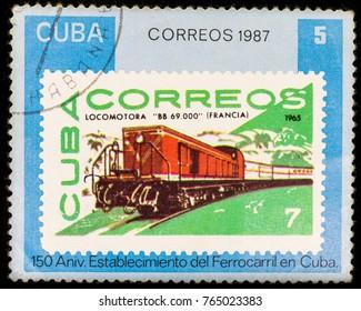 Samara, Russia - November 25, 2017: old postage stamp shows retro locomotive, 150 anniversary of Railway of Cuba series, printed in Cuba in 1987
