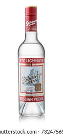 Samara, Russia - October 2017. Product shot of Stolichnaya Vodka isolated on white