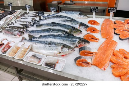 SAMARA, RUSSIA - OCTOBER 26, 2014: Raw fish ready for sale in the supermarket Magnit. One of largest food retailer in Russia