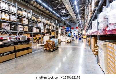 Samara, Russia - September 14, 2019: Interior of the IKEA Samara Store. IKEA is the world's largest furniture retailer, founded in Sweden