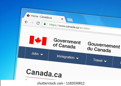 Samara, Russia - September 19, 2018: Homepage of Canada Government website on the display of PC, url - canada.ca