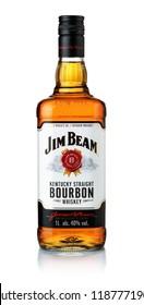 Samara, Russia - September 2018. Product shot of Jim Beam bourbon whiskey bottle isolated on white