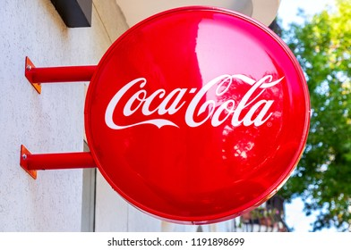 Samara, Russia - September 22, 2018: Coca Cola advertising sign on the wall of building