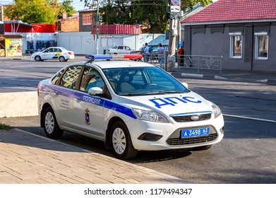 Samara, Russia - September 9, 2018: Russian police patrol car of the State Automobile Inspectorate parked up on the city street in summer day