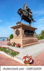 Samara, Russia - September 9, 2018: Bronze monument to the founder of Samara - Prince Grigory Zasekin at the city embankment in summer sunny day
