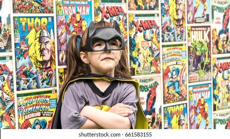 Samara, Russia-June 16 ,2017; The girl in Batman costume. Batman a popular character Marvel