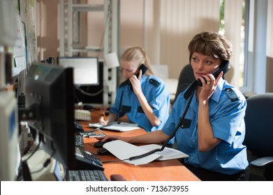 SAMARA-RUSSIA - 12 June 2012 - Working dai in the private security company KKS. Staff at the call centre.