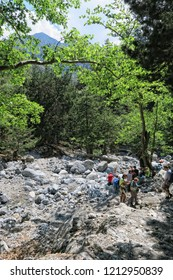 Samaria, Crete / GREECE May 25 2017: People hiking along the trail through Samaria Gorge at Crete, Greece. Valley and natural flora and founa.