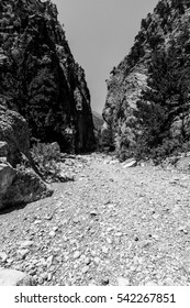 Samaria Gorge. Crete. Greece. Black and white.