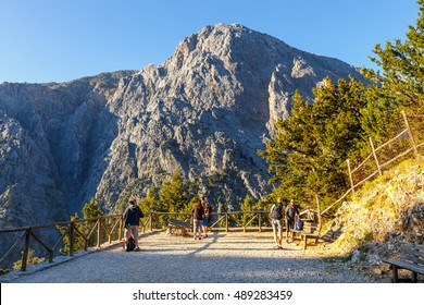 Samaria Gorge, Grece - MAY 26, 2016: Tourists hike in Samaria Gorge in central Crete, Greece. The national park is a UNESCO Biosphere Reserve since 1981