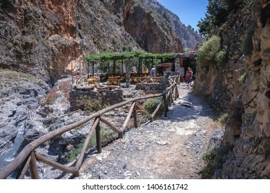 Samaria Gorge, Greece - May 21, 2007: Bar at the end of Samaria Gorge National Park of Greece on Crete island
