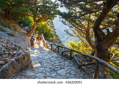Samaria Gorge, Greece - MAY 26, 2016: Tourists descend down the Gorge Samaria in central Crete, Greece. The national park is a UNESCO Biosphere Reserve since 1981