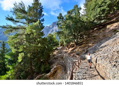 Samaria Gorge, Greece - SEPTEMBER 23, 2016:  Samaria gorge - the most popular tourist destination in Crete. The national park is a UNESCO Biosphere Reserve since 1981