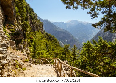Samaria Gorge hiking path on island of Crete