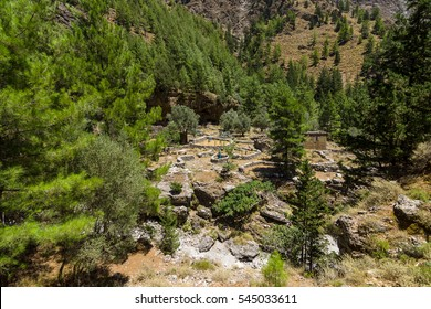 Samaria Gorge. The ruins of an abandoned village. Island of Crete. Greece.