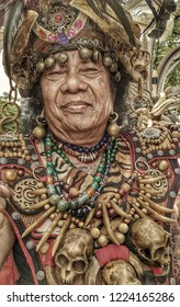 Samarinda 2018 In the Mahakam Festival. Dayak Tribe Leader is Brave Figure, The costume used signifies level of Rank