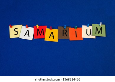 Samarium – one of a complete periodic table series of element names - educational sign or design for teaching chemistry.