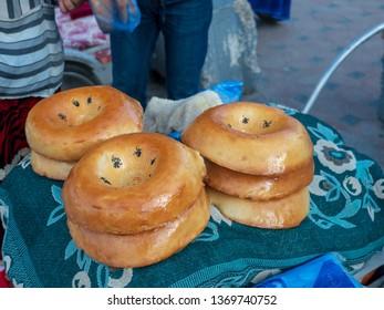 Samarkand bread in Samarkand Uzbekistan.