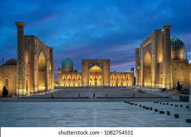 Samarkand at dusk. Historic Registan square with three madrasahs: Ulugh Beg, Tilya-Kori and Sher-Dor