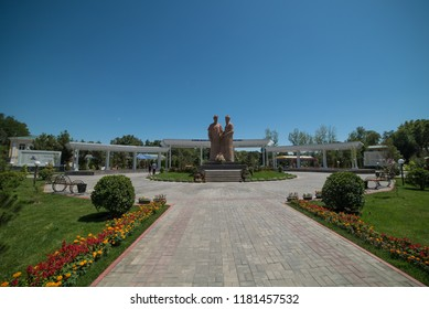 SAMARKAND, UZBEKISTAN - 04 AUGUST 2018: A monument to two representatives of Uzbek and Tajik literature Alisher Navoi and Abdurakhman Jami, erected in Samarkand central park named