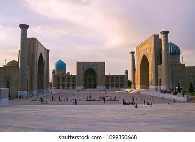 Samarkand, Uzbekistan - 30 Apr 2018: Registan Square, complex of three famous madrasah. Medieval university campus. Evening, selective focus
