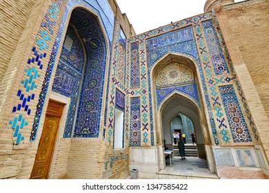 Samarkand, Uzbekistan 8-8-18 : unidentified tourist are walking in  Historical necropolis and mausoleums of Shakhi Zinda,