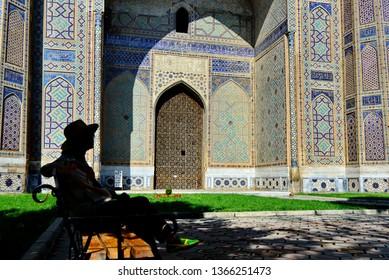 Samarkand, Uzbekistan - Aug 3 2018: . unidentified tourist visit Bibi-Khanym Mosque in Samarkand,