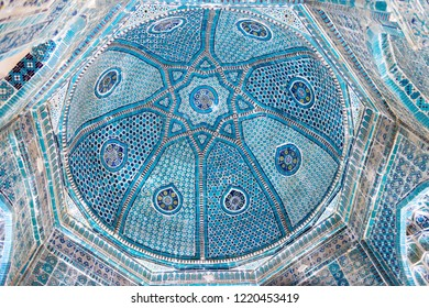 Samarkand, Uzbekistan - Aug 30 2018: Detail of Shah-i-Zinda in Samarkand, Uzbekistan. It is part of the Samarkand - Crossroad of Cultures World Heritage Site.