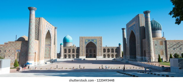 Samarkand, Uzbekistan - Aug 30 2018: Registan in Samarkand, Uzbekistan. It is part of the Samarkand - Crossroad of Cultures World Heritage Site.
