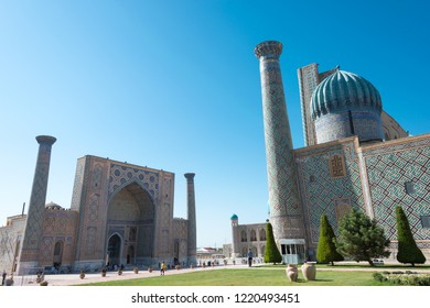 Samarkand, Uzbekistan - Aug 30 2018: Registan in Samarkand, Uzbekistan. It is part of the Samarkand - Crossroad of Cultures World Heritage Site.