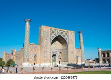 Samarkand, Uzbekistan - Aug 30 2018: Ulugh Beg Madrasa at Registan in Samarkand, Uzbekistan. It is part of the Samarkand - Crossroad of Cultures World Heritage Site.