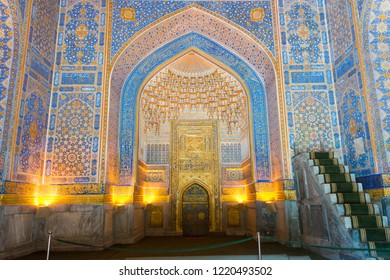 Samarkand, Uzbekistan - Aug 30 2018: Tilya-Kori Madrasa at Registan in Samarkand, Uzbekistan. It is part of the Samarkand - Crossroad of Cultures World Heritage Site.