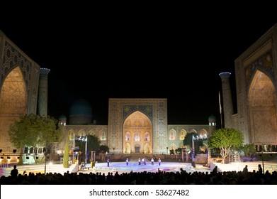 SAMARKAND, UZBEKISTAN - AUGUST 27: Jane Doe and John Doe perform on stage at Sharq Taronalari August 27, 2009 in Samarkand, Uzbekistan.
