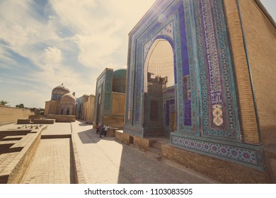 SAMARKAND, UZBEKISTAN - AUGUST 29, 2016: Shah-i-Zinda, the Tomb of the Living King, a stunning avenue of mausoleums in Samarkand, Uzbekistan