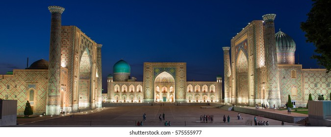 SAMARKAND, UZBEKISTAN - AUGUST 29, 2016: the Registan at night in Samarkand, Uzbekistan