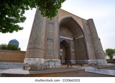 Samarkand, Uzbekistan - Circa April 2018 : 15th century Bibi-Khanym Mosque was one of the largest and most magnificent mosques in the Islamic world