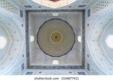 Samarkand, Uzbekistan - Circa April 2018 : Interior of 15th century Bibi-Khanym Mosque