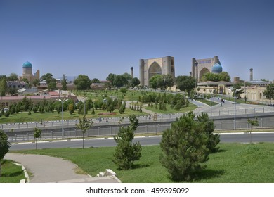 Samarkand, Uzbekistan - July 03, 2014: Bibi-Khanum monument 1399-1404 years in Samarkand, the Grand mosque of Tamerlane, richly decorated with tiles, carved marble and paintings.