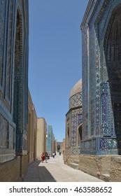 Samarkand, Uzbekistan - July 03, 2014: Shohizinda - a monument of medieval architecture in Samarkand, ensemble of mausoleums of the Samarkand nobility.