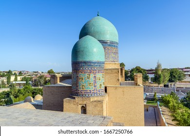 SAMARKAND, UZBEKISTAN -  JULY 30, 2019: Domes of Shah-i-Zinda ensemble which includes mausoleums and other ritual buildings of 9-14th.
