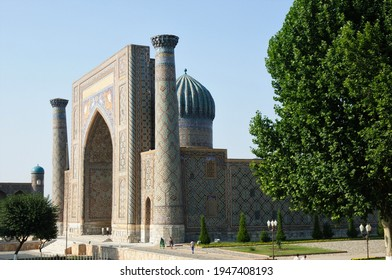 Samarkand, Uzbekistan - July 7, 2012: Sirdar Madrasa was built in the 15th century. The tile decorations in the madrasa are remarkable.