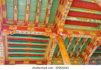 SAMARKAND, UZBEKISTAN - MAY 1, 2015: The colorful timbered ceiling of the terrace of summer mosque in Ruhabad complex, on May 1 in Samarkand.