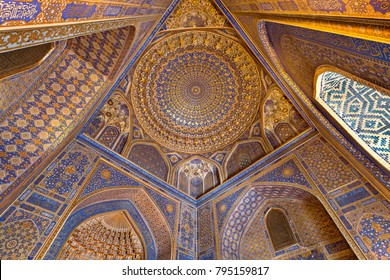 SAMARKAND, UZBEKISTAN - MAY 20, 2017: Interior of Tilya Kori Mosque and Madrasah located in Registan Square, in Samarkand, Uzbekistan.