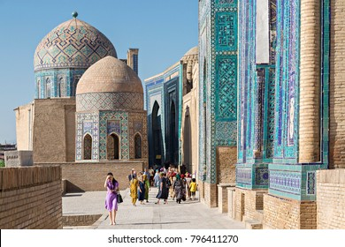 SAMARKAND, UZBEKISTAN - MAY 20, 2017: People visit the historical cemetery of Shahi Zinda, in Samarkand, Uzbekistan.