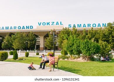Samarkand, Uzbekistan. May 2019. Samarkand railway station
