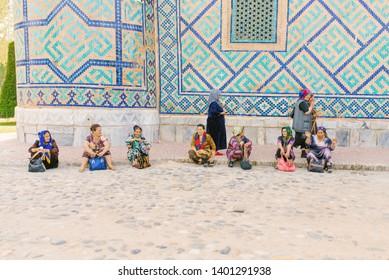 Samarkand, Uzbekistan. May 2019. Residents of Samarkand, Uzbek women walk along a city street