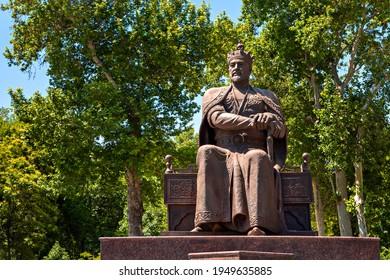 SAMARKAND, UZBEKISTAN - MAY 25, 2018: Statue of Tamerlane known also as Timur or Gur Amir, in Samarkand, Uzbekistan